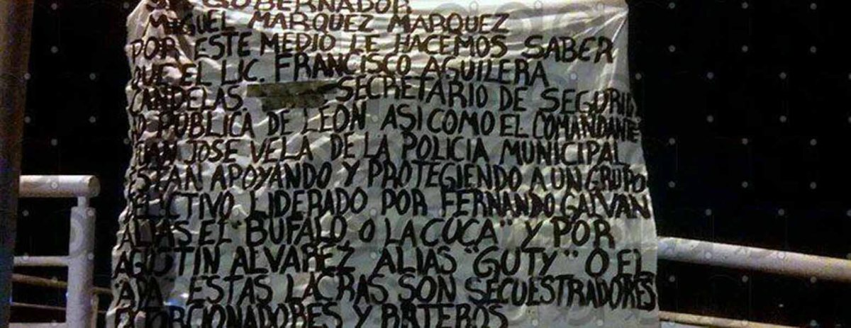 Con narcomantas en León, Cártel Jalisco Nueva Generación dice que 'limpiarán de lacras a Guanajuato'